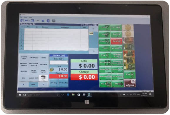 POS BROWSER shown on windows tablet device